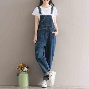 2020 Retro Washed Overalls Thigh Casual Fashion Denim Jumpsuit Button Pocket Elegant Style Pants Women