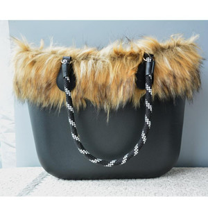 Black Silicone Bag Women Bucket bags Classic Tote Faux Fur Winter Warm 42CM Handbag Rope Handle Shoulder Bags Christmas Gift