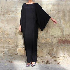 2020 Women Vintage Dress spring summer Solid Casual Loose Pockets Long Maxi Vestidos Robe eid ramadan kaftan robe VKDR1877