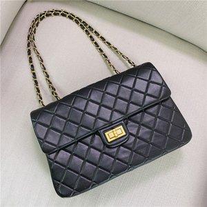 2020 new style high-quality leather elegant rhombus chain underarm bag large capacity ladies one-shoulder messenger Pure black bag