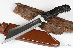 Alta qualità Freewolf Forte Sopravvivenza Dritto coltello 9Cr18 Tanto Blade Full Tang Tang Ebony Maniglia per la caccia all'aperto Caccia Pesca Salvataggio Knive