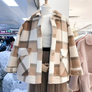 뜨거운 판매 가을 자켓 여성 패션 울 블렌드 가짜 모피 코트 여성 자켓 겨울 코트 여성 느슨한 두꺼운 따뜻한
