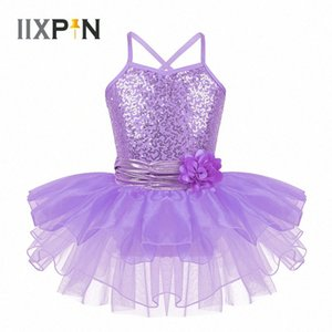 IIXPIN Çocuk Kız Bale Tutu Elbise Spagetti Omuz sapanlar Pullarda Çiçek Kayış Bale Dans Jimnastik Leotard Tutu Elbise LZjR #