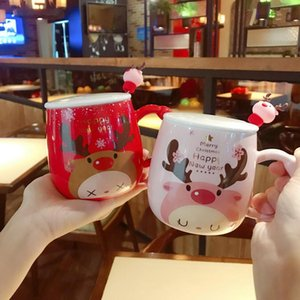 Christmas Gift Cartoon Cute Cups Fawn Printed Lid Spoon Creative Lovely Couples Porcelain Cups Office Cute Fashion Coffee Cups Mugs BWA1703
