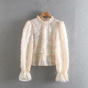 Donne Fashion Bolder Manica Sequins Appliques Cuciture Camicette Camicie Camicie Donne Stand Collare Pieghelato Ruffles Blusas Chic Tops LS6118