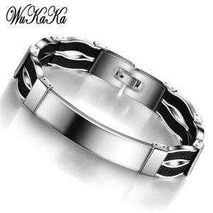 Wukaka Mode Hommes Noir Acier inoxydable Bracelets pour hommes 2020 Bijoux cadeau Fête des Pères