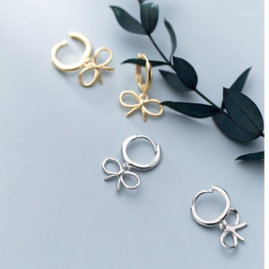 925 Sterling Silver Small Bowknot Bow Hoops Earrings Gold Color Plated Ear Ring Earings for Women Girls Brincos Jewelry1
