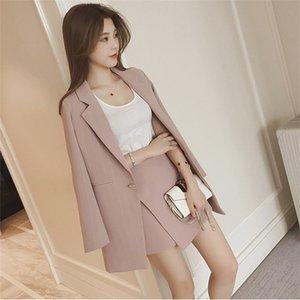 CBAFU Kadın Set Kore Sonbahar Blazer Suit Uzun Kollu Pembe Çizgili Ceket Şort Ofis 2 Parça Mizaç Ince Setleri N611 T200325