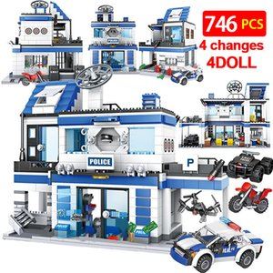 746pcs City Police Station Building Blocks Militar Helicóptero Swat WW2 Team Team Bricks Educational Brinquedos Crianças 1008