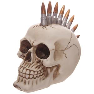 رصاصة رئيس الديكور تمثال الموهوك الهيكل العظمي الشكل Mohican الشرير الجمجمة مع الرصاص هالوين أنيق حلاقة الشبح