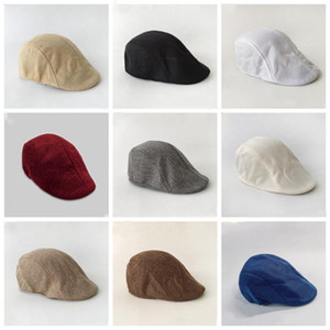 Men Beret Hats Spring Autumn British Retro linen Duck Tongue Cap Solid Color Forward Hat Casual Fashionable Caps Party Favor OWD2160