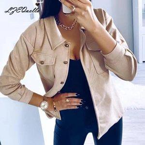 Lzequella Yeni Isınma Uzun Kollu Ceket Kadın Moda Düğme Cep Yumuşak Kıyafetler Kadın Mont NZ24111