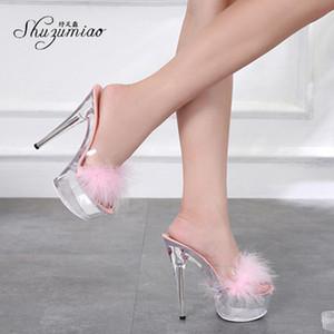 los zapatos de las mujeres 2020 Shuzumiao atractiva del tacón alto zapatillas 15cm piel bien con zapatos impermeables boda Plartform sandalias de cristal