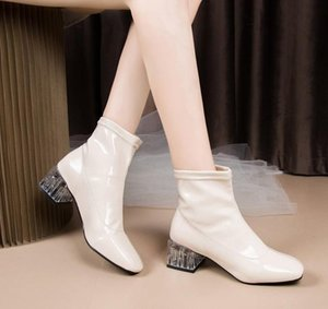 Women Patent Leather Ankle boots Pu Transparent Mid Heels Woman Shoes 2021 Winter Warm Shoes Ladies Fashion Female Footwear New