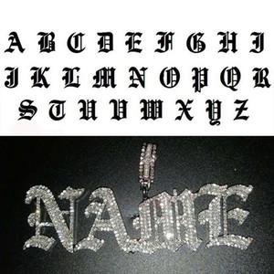 Hip Hop Personalizado Nome Antigo Inglês Gótico Fonte letra Pingente Colar Irjado fora CZ homens mulheres ouro prata cor colares de jóias 201014
