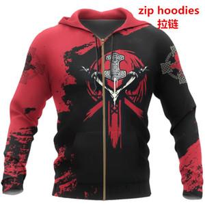 PLstar Cosmos crazy pattern warrior Viking Tattoo 3D Printed Men hoodies Harajuku Hooded Sweatshirt Autumn Fashion hoodie top-22 201021