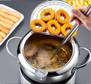 Fritadeira Pan Thermometre Tempura Fryer Pan Mini aço inoxidável Stock Pots Termômetro Oil Drip rack Cozinhar Ferramentas Utensílio OWD1247