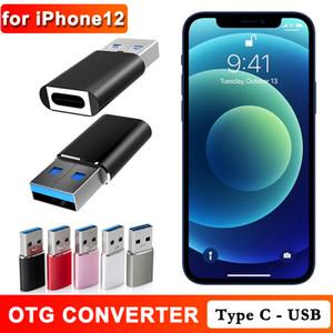 Für iPhone 12 Airpods Pro Typ C Buchse auf USB Stecker Data Sync-Ladekabel Konverter 5A Aluminiumlegierung Ladegerät-Adapter OTG-Anschluss
