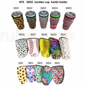 15 أنماط 30oz بهلوان حامل حقائب غطاء زجاجة قهوة مثلجة كأس النيوبرين كم معزول الأكمام أكواب أكواب ماء مع تغطية الشريط RRA3776