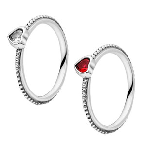 925 Sterling Silver Pandora Jewelry Transparent love Connected beads Cubic Zirconia Ring with wine red gemstone Lovers rings