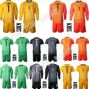 Молодежь с длинным рукавом Национальная команда 1 Hugo Lloris Vogie Foccer Jersey Set Kids Heorther GK 16 STEVE MANDANDA 23 Aseola Футбольная рубашка