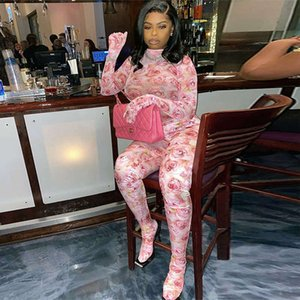 Fashion Breathable Womens Onesies Clothes Rose Print Wrap-foot Jumpsuit With Gloves Europe Style Ladies Zipper Romper