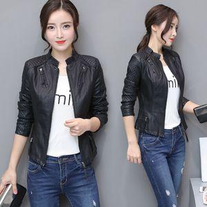Black Women Autumn Faux Leather PU Jacket Casual Slim Soft Moto Jacket Biker Faux Fringe Jacket Female Coats Basic Streetwear 201124