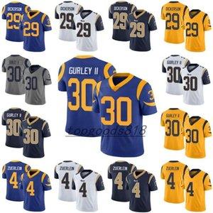 LosAngelesRamsMen # 29 Eric Dickerson 30 Todd Gurley II 4 Greg zuerlein Erkekler Kadınlar Gençlik Jersey