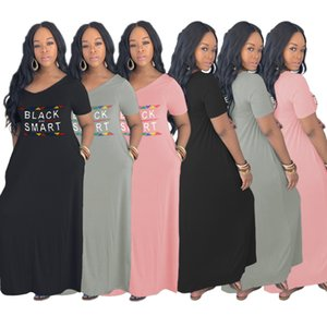 Wholesale Plus Size Dress & Skirts Women Sexy Loose V-neck Dress With Pocket Letters Womens Clothing Fashion Plus Size Dresses