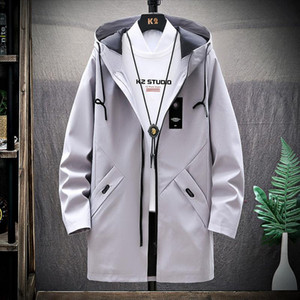 2020 Stylisme hommes outwear long manteau trench casaco masculino vêtements homme slim fit manteau long trench