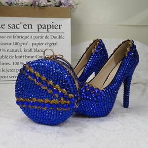 Eşleştirme çanta yüksek topuklu platform ayakkabı kadın Yuvarlak Burun Yüksek pompaları ile BaoYaFang Royal Blue kristal Kadınlar Düğün ayakkabıları