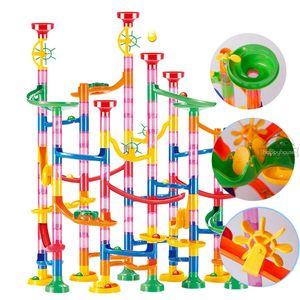 대리석 실행 인종 트라 건물 BLOS 키즈 3D 미로 볼 롤 장난감 DIY 대리석 실행 레이스 컵 받침 세트 (80) / 109분의 105 / 133pc 크리스마스 선물