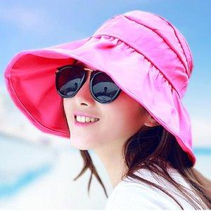 Summer Hats for Women 2020 Fashion Foldable Brimmed Sun Hat Women Outdoor UV Protection Korean Style Beach Chapeu Feminino 1799