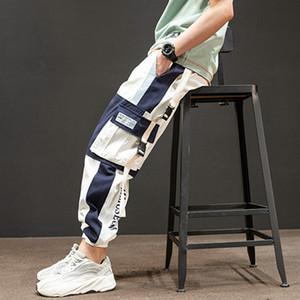 Hip Hop Boy Multi-pocket Elastic Waist Harem Pants Men Streetwear Casual Trousers Joggers Male Ankle-length Fashion Mens Pants 201111