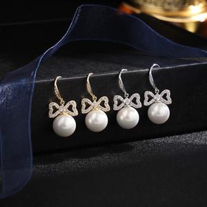 Novo estilo Marca de luxo micro-embutido Zircon Brincos de arco de pérola, jóias temperamento mulheres high-end brilhante zircão 18k brincos banhados a ouro
