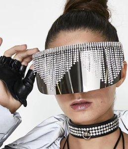 Protection des yeux Miroir strass ombre Lunettes de soleil Femmes Hommes Big Mask Frame Lunettes de luxe UV400 Argent surdimensionné diamant Sacdw mode