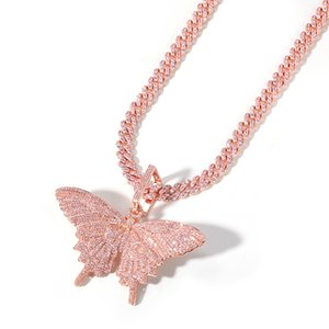 All Pink Cubic Zirconia Paved Bling Ice Out Butterfly Pendants Necklaces Tennis Chain for Men Women Hip Hop Rapper Necklace