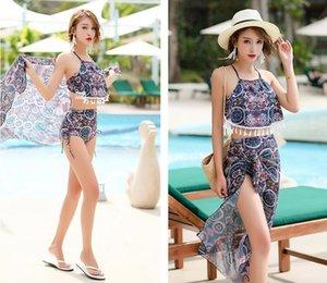 3 Style Hot Spring Molla Costume da bagno a tre pezzi in vita Spalato Bikini Sms. Koreano Piccola fresca costume da bagno conservatrice fresca