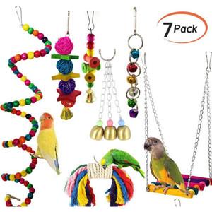 7Pcs Set Pet Parrot Hanging Toy Chewing Bite Rattan Balls Grass Swing Bell Bird Parakeet Cage Accessories Pet Supplies Gjyjy