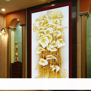 5d Diy Diamond Painting Cross Stitch Golden Lily Diamond Embroidery Flowers Crystal Round Diamond Mosaic Pictures Needlework CJ191212