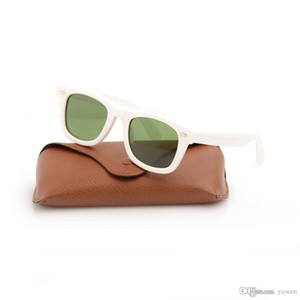 Classic UV400 protection glasses glass Lens Sun glasses Green Lens Sunglasses Plank white Sunglasses High Quality 2140 Sun glasses With Boxs