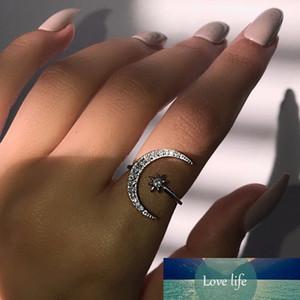 Vintage minimalista zircon luna estrella anillo de apertura para mujeres con encanto fiesta joyería bohemia regalo lindo