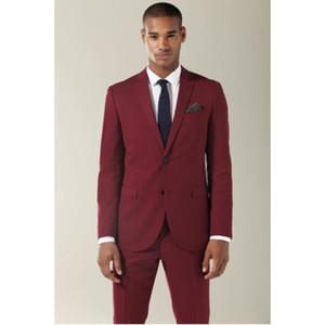 Мужские костюмы Blazers Custom Made Slim Fit Classic Burgundy Groom Tuxedos Notch Отворотный мужчина Костюм Groomsman Формальная свадьба (Куртка + брюки)