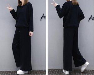 1 set 2 pieces New autumn womens suit fashion casual suit Slim professional wide leg pants