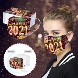 2021 Мода Happy New Year Celebration Красочные печатных взрослых Одноразовые маски для лица, пыле и дышащий защитный Дизайнерские рот маски