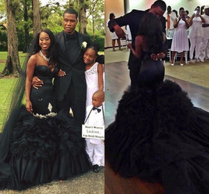 2021 Black Mermaid Wedding Dresses Lace Applique Ruffles Tiered Skirt Chapel Train Satin Tulle Custom Made African Wedding Gown vestidos