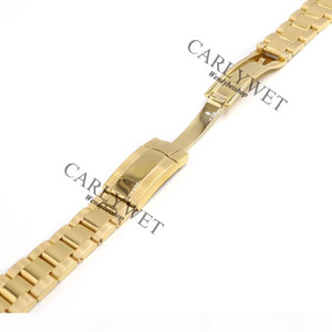 CARLYWET 20mm 316L Stainless Steel Gold Solid Curved End Screw Links Deployment Clasp Watch Wrist Band Strap Bracelet