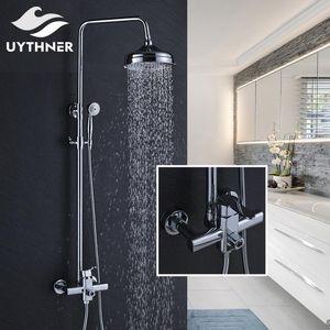 Recém-chuvas 8 polegadas Chuveiro Bath Shower Mixer torneira do chuveiro Set Faucet Com Mão Chrome Polido lucky2005 yxlbse