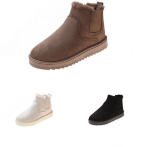 QW66O Último tobillo para mujer Mujer Matchmake Botones de moda baja Botas de algodón Botas de algodón Classic Otoño e invierno Botines de bota de bota de cuero