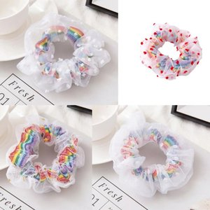 Scrunchies Hairbands Rainbow Gauze print Satin Hair Bands Large intestine Hair Ties Ropes Girls Ponytail Holder Hair Accessories Designs